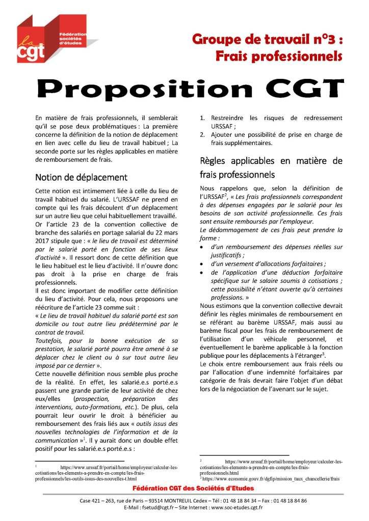 Proposition CGT sur les frais professionnels