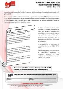 Bulletin d'information des bureaux d'études n°143
