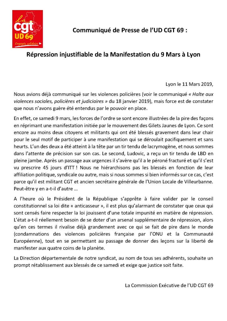 Répression injustifiable de la Manifestation du 9 Mars à Lyon