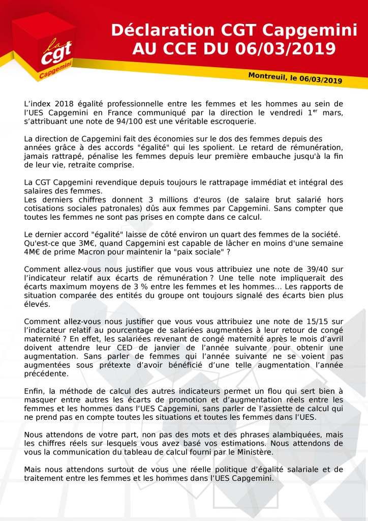 Déclaration CGT Capgemini au CCE du 6 mars 2019