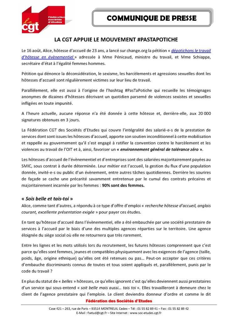 La CGT appuie le mouvement #PasTaPotiche