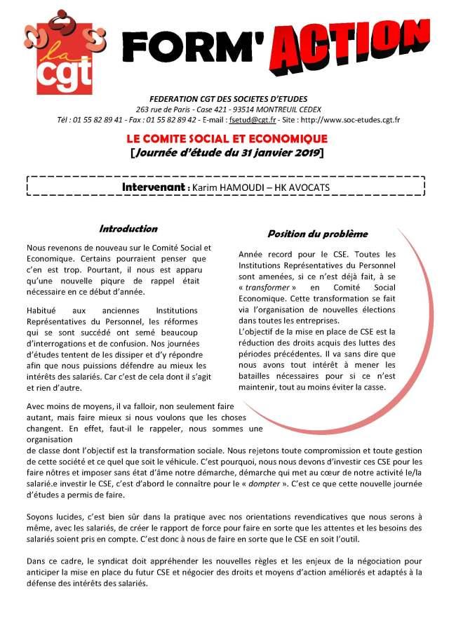Form'Action janvier 2019 : Le Comité Social et Economique