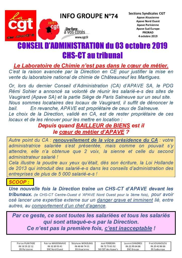 APAVE : Info groupe n°74