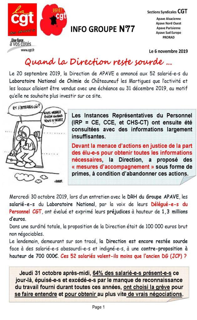 APAVE : Info groupe n°77
