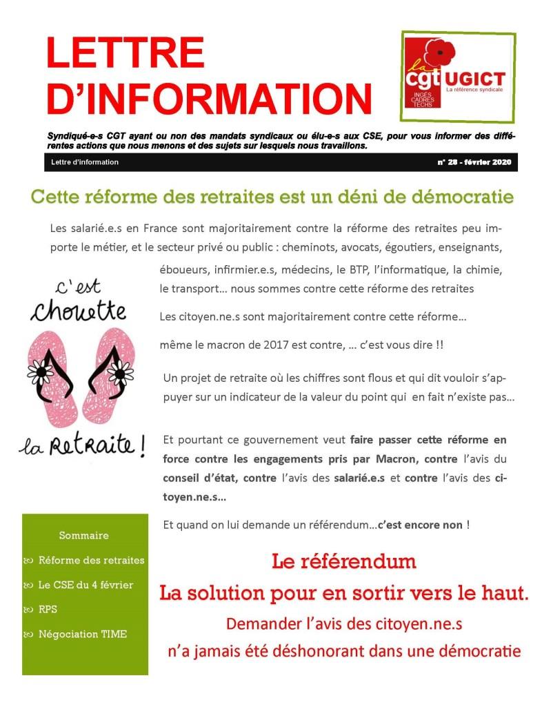 ADP-GSI : Lettre d'information n°28 – Février 2020