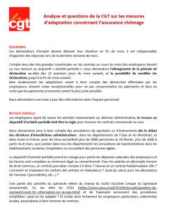 Analyse et questions de la CGT sur les mesures d'adaptation concernant l'assurance chômage