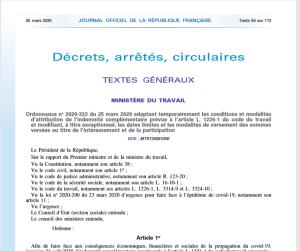 Ordonnance n°2020-322 du 25 mars 2020 (indemnité maladie versement interessement participation)