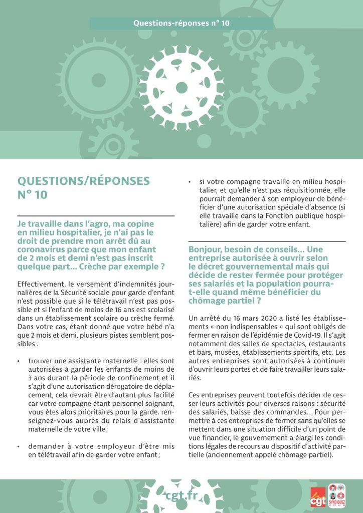 Coronavirus : Questions-réponses n°10