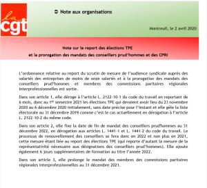 Note sur le report des élections TPE  et la prorogation des mandats des conseillers prud'hommes et des CPRI