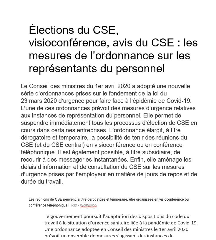 Élections du CSE, visioconférence, avis du CSE : les mesures de l'ordonnance sur les représentants du personnel