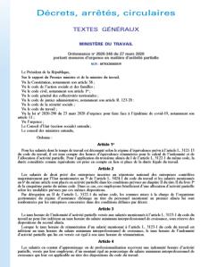 Ordonnance no 2020-346 du 27 mars 2020  portant mesures d'urgence en matière d'activité partielle