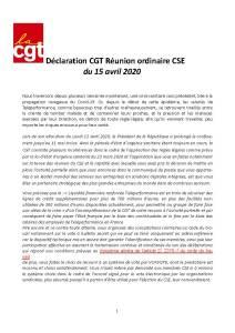 TELEPERFORMANCE : Déclaration CGT à la réunion ordinaire du CSE du 15 avril 2020