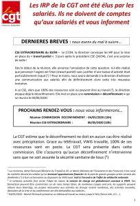 VWIS : Les IRP de la CGT ont été élus par les salariés. Ils ne doivent de comptes qu'aux salariés et vous informent