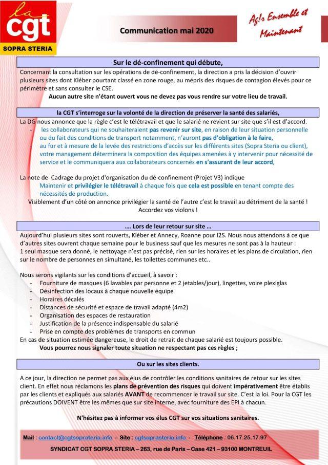SOPRA-STERIA : Communication CGT syndicale – mai 2020