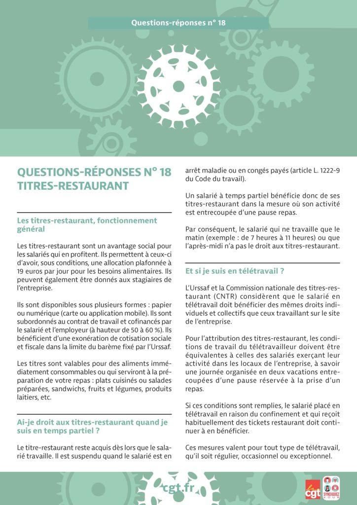 Coronavirus : Questions-réponses n°18