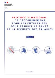 Protocole national de déconfinement pour les entreprises pour assurer la sécurité et la santé des salariés