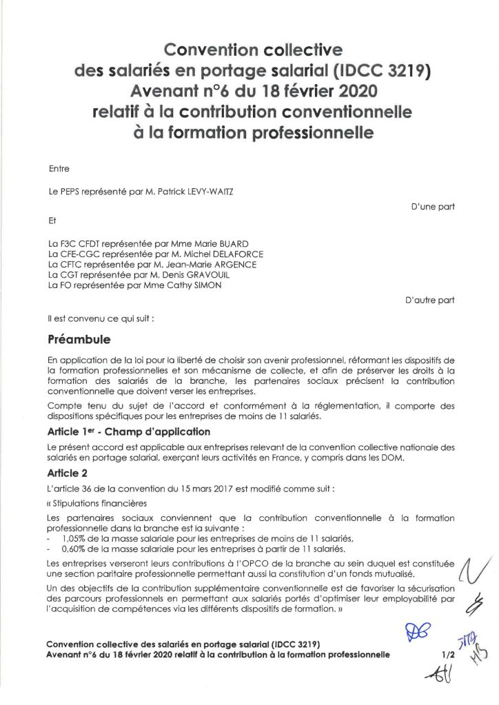 Avenant n°6 du 18 février 2020 relatif à la contribution conventionnelle à la formation professionnelle