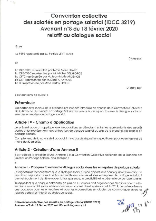 Avenant n°8 du 18 février 2020 relatif au dialogue social