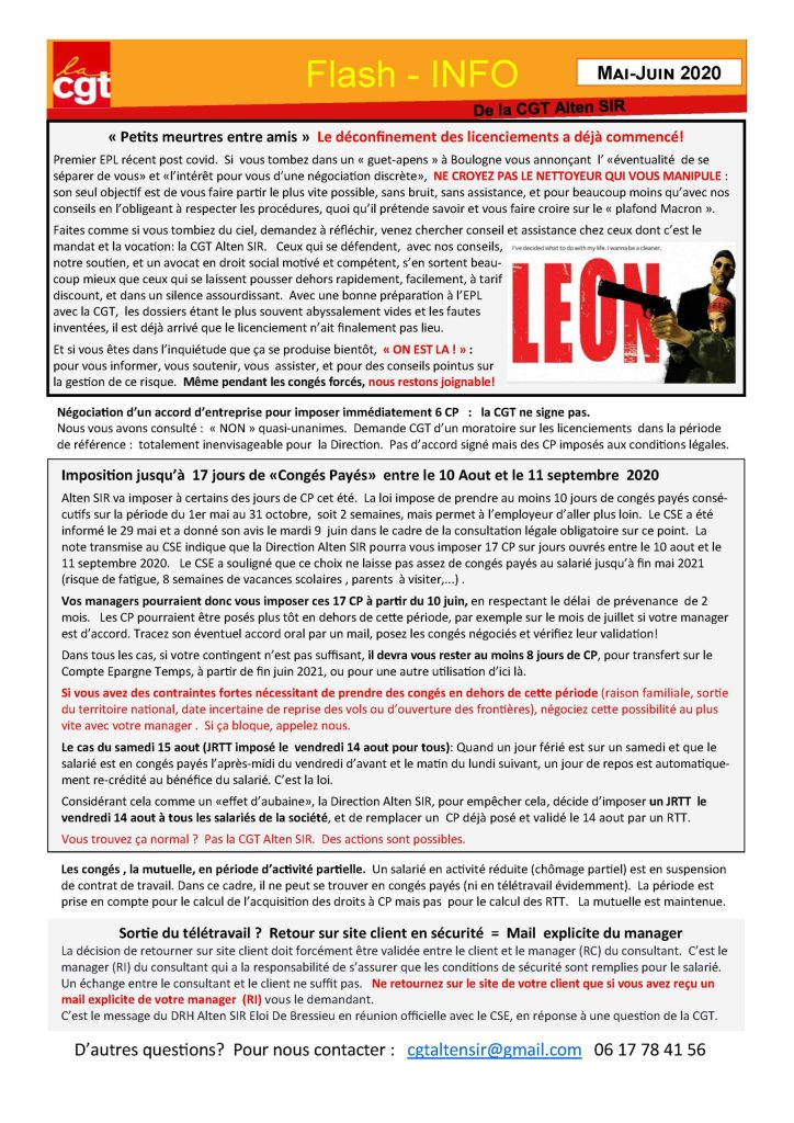 ALTEN SIR : Flash-Infos – Mai-juin 2020