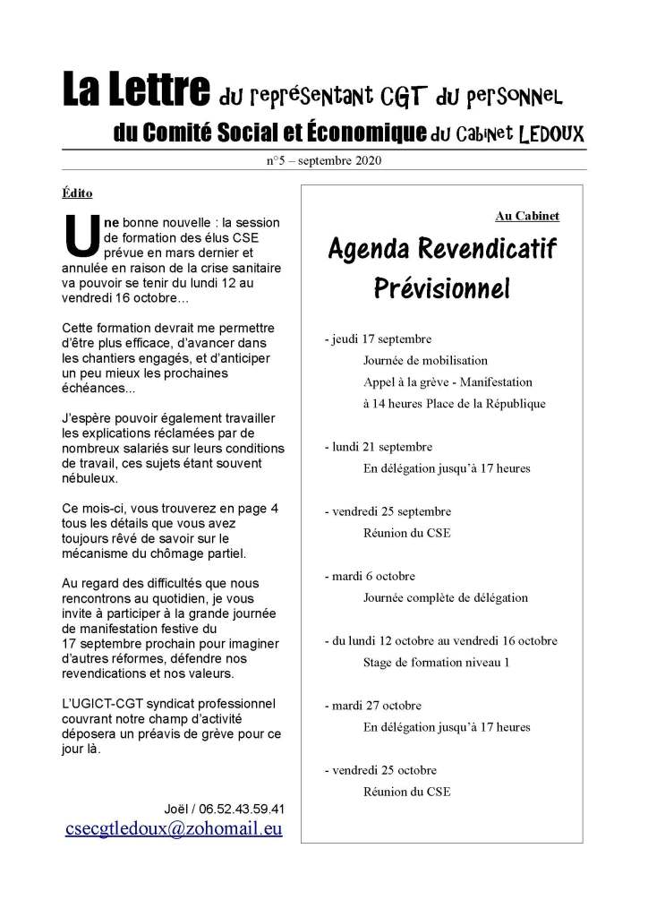 La Lettre du représentant CGT du personnel du Comité Social et Économique du Cabinet LEDOUX N°5 – Septembre 2020