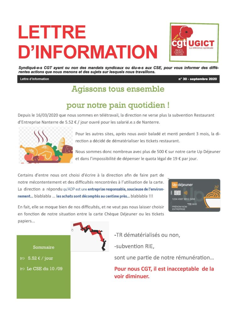 ADP-GSI : Lettre d'information n°30 – Septembre 2020