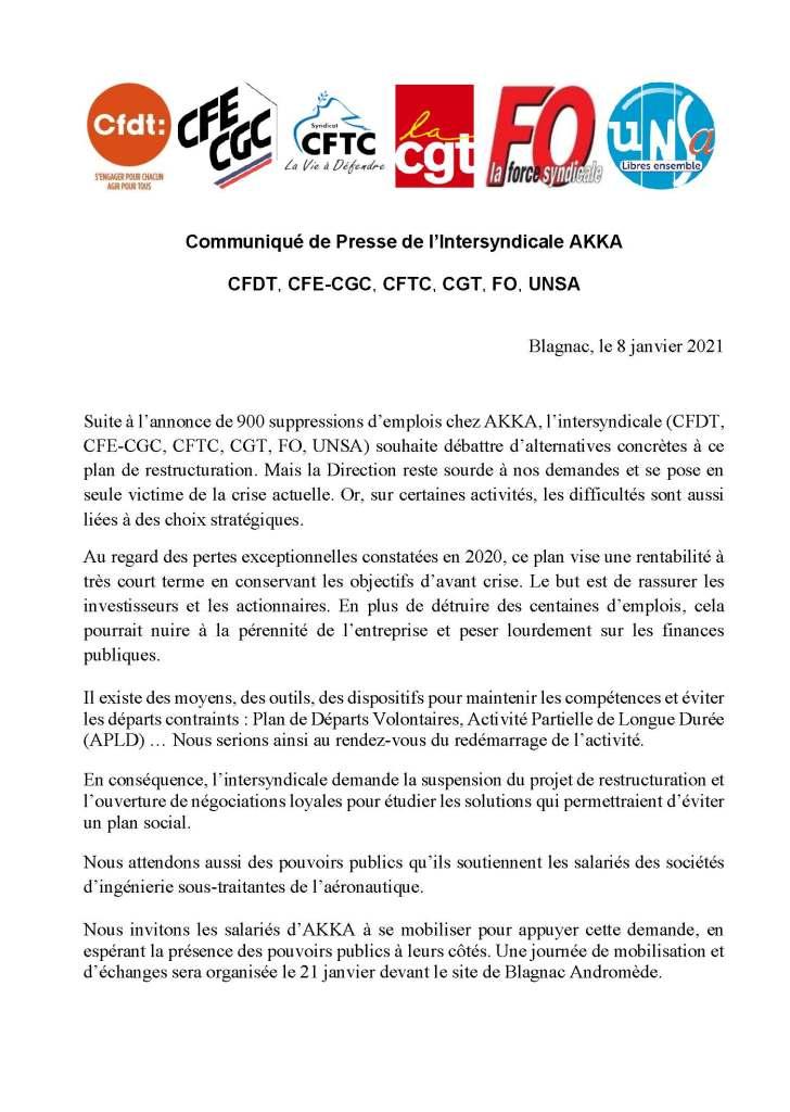 AKKA : Communiqué de presse intersyndical du 8 janvier 2021