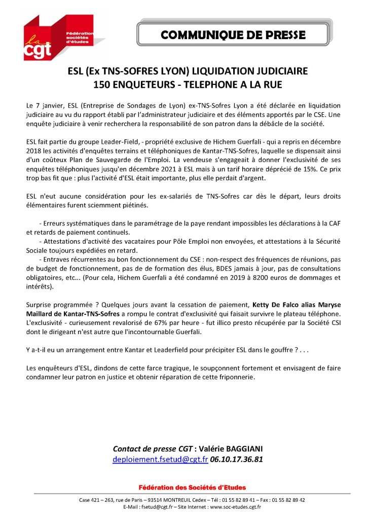 ESL (Ex TNS-SOFRES Lyon) liquidation judiciaire – 150 enquêteurs téléphone à la rue
