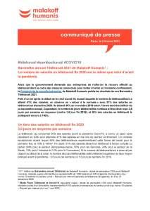 Baromètre annuel Télétravail 2021 de Malakoff Humanis : Le nombre de salariés en télétravail fin 2020 est le même que celui d'avant la pandémie.