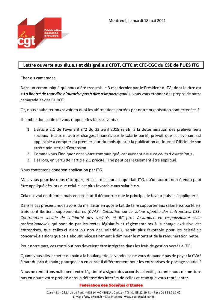 Lettre ouverte aux élu.e.s et désigné.e.s CFDT, CFTC et CFE-CGC du CSE de l'UES ITG