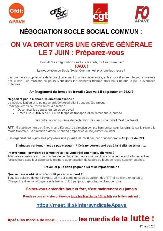 APAVE : Négociations Socle Social Commun : On va droit vers une grève générale le 7 juin : Préparez-vous