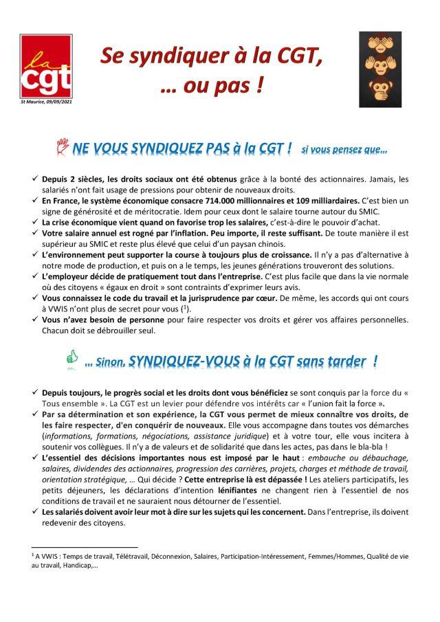 VWIS : Se syndiquer à la CGT, … ou pas !