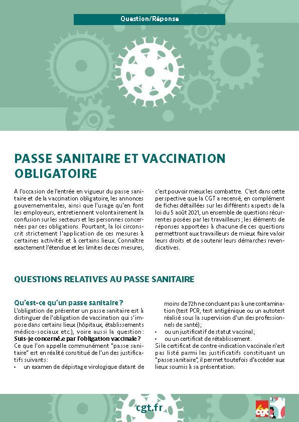 Passe sanitaire et  vaccination obligatoire