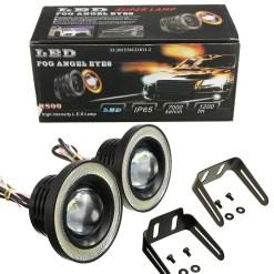 """LED Angel Eye Fog Light Bulbs 3.5"""" White"""