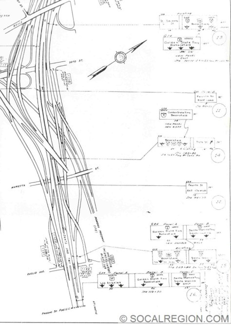 Sign plans from 1965 showing the removal of US 99 North and US 101 South from the East Los Angeles Interchange.