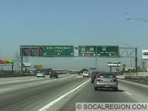 91 West at the 110. Note the END FREEWAY sign. 91 does continue west on Artesia Blvd.
