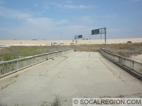 Former Schaefer Ave Bridge over Chino Creek. The 71 Freeway is in the background.