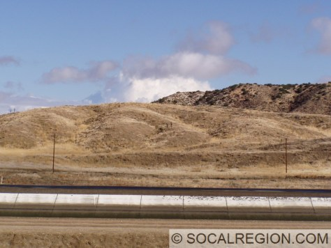 Scarp visible just beyond aqueduct near Palmdale.