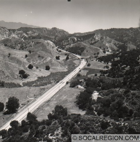 1949 view looking southerly along Gavin Canyon toward the site of the I-5 overcrossing. Courtesy - Caltrans