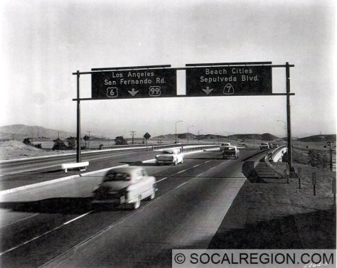 Overhead signs at the old south end of the Golden State Freeway. Bridge at center is the San Fernando Road OH.