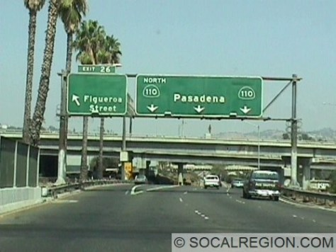 Figueroa Street - Large space above exit name used to hold US 99 and US 6 shields. It is also the last original exit number heading northbound.