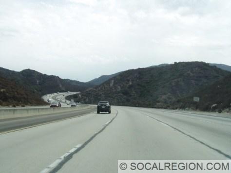 Passing through the Verdugo Mountains, heading eastbound.