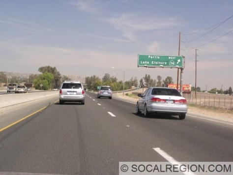 Freeway through Perris. This section is from the late 1950's.