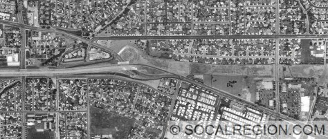 Aerial photo of the west end of the 30 freeway in La Verne.