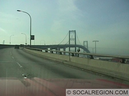 View of the Vincent Thomas Bridge from the east approach.