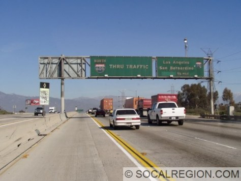 Many of the overheads on this freeway have the strange control city of THRU TRAFFIC.