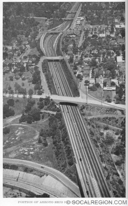 1949 photograph of the Arroyo Seco Parkway between Bridewell Avenue and Pasadena Avenue. Photo Courtesy - Caltrans.