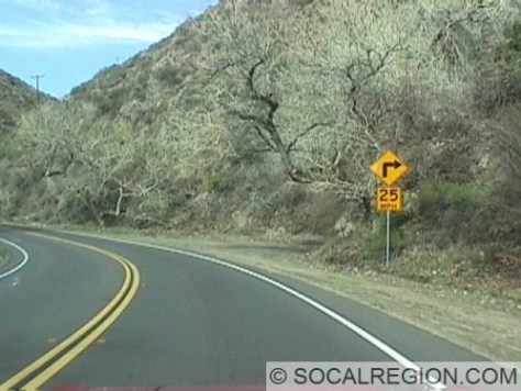 One of the many sharp curves in the middle section of Bouquet Canyon. Curves range from 35mph down to 20mph.