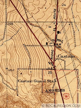 Map of Castaic and the Ridge Route junction. Road to the left is the 1933-1951 alignment of US 99. The 1951 expressway was built to the west of the road shown.