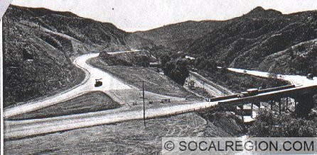 End of Foothill Blvd. in 1934. Bridge over railroad tracks was built in 1910 and widened in 1936.