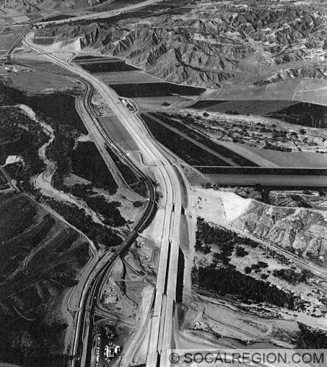 I-5 under construction from Magic Mountain Parkway to just beyond Castaic Junction in 1964.